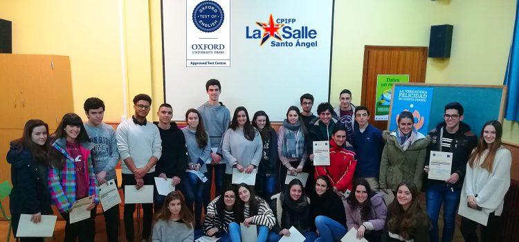 ¡Felicidades a los chicos que obtubieron el B1 y B2 de inglés en nuestro centro!