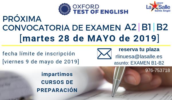 Próxima convocatoria examen A2-B1-B2 de inglés