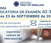 Convocatoria para examen de certificación A2-B1-B2 en inglés